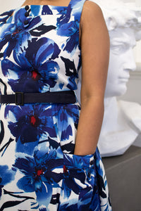 Bee Blue & Red Floral Dress