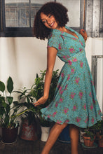 Load image into Gallery viewer, Posy Teal Floral & Dots Dress