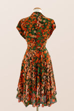 Load image into Gallery viewer, Pansy Burnt Orange & Green Floral Dress