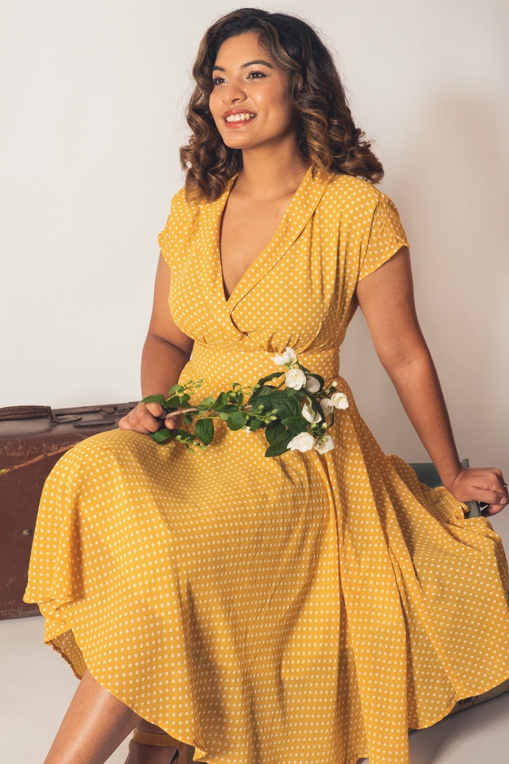 Posy Mustard & Cream Dots Dress