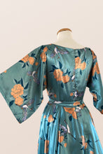 Load image into Gallery viewer, Teal Oriental Kimono Dress