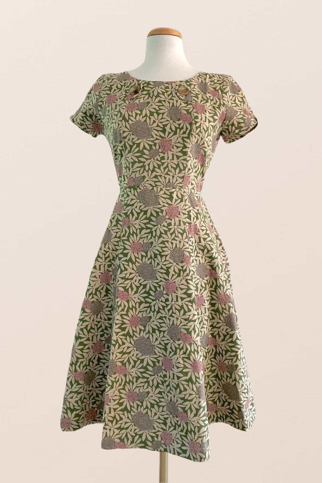 Carla Green & Dusty Pink Floral Dress