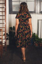 Load image into Gallery viewer, Annie Green & Burnt Orange Roses Dress