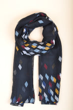 Load image into Gallery viewer, Navy Diamond Scarf