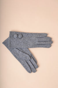Covered Button Gloves - Grey