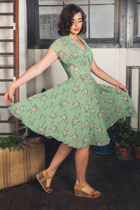 Posy Green Floral & Dots Dress