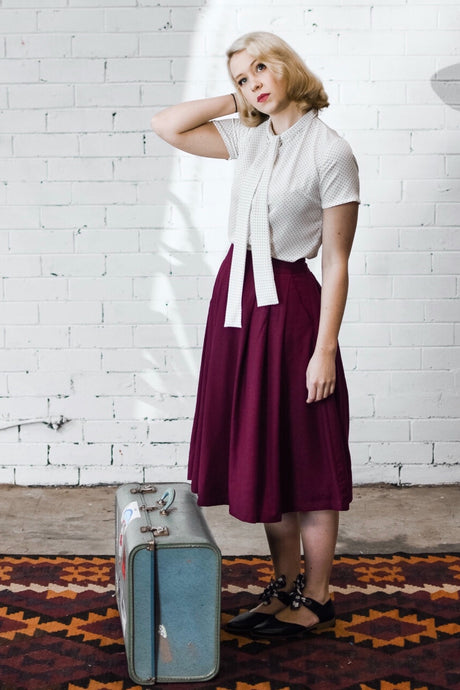 Roxy Burgundy Linen Skirt