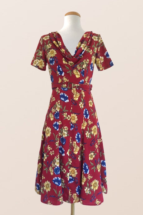 Joan Burgundy Floral Dress