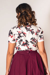 Jo Burgundy & Black Floral Blouse