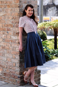 Roxie Navy Linen Skirt