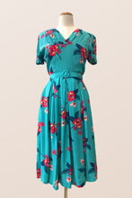 Load image into Gallery viewer, Jenna Turquoise Floral Dress