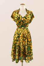 Load image into Gallery viewer, Pansy Green & Mustard Floral Dress