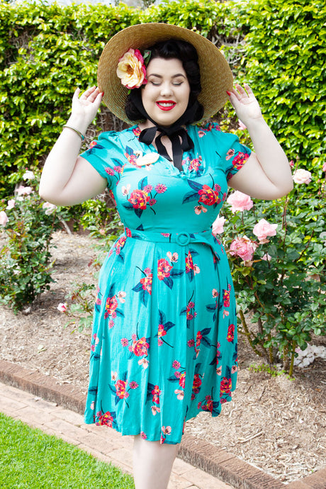 Jenna Turquoise Floral Dress