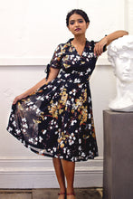 Load image into Gallery viewer, Kassandra Black Floral & Bird Dress