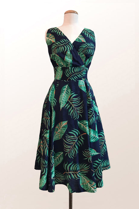 Lorikeet Navy & Green Leaf Dress