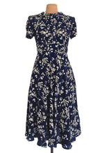 Load image into Gallery viewer, Peach Roses Navy & Mustard Floral Dress