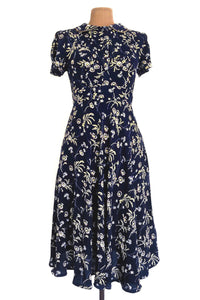 Peach Roses Navy & Mustard Floral Dress
