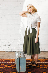 Roxie Green Linen Skirt