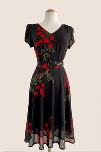 Sadie Black & Red Floral Dress