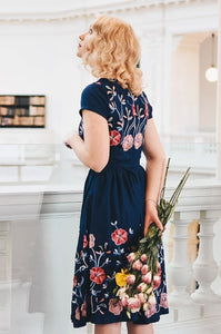 Serenity Navy Embroidery Dress