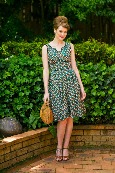 Margaux Green & Brown Dress Elise Design $169.00 Dresses