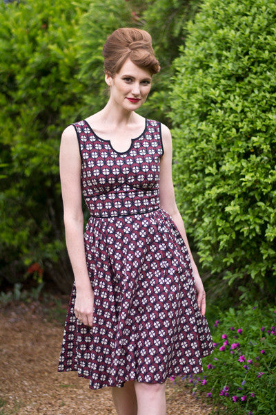 Margaux Burgundy & Black Dress - Elise Design