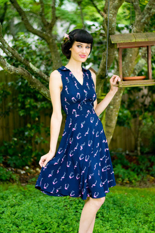 Millie Navy Flamingo Dress - Elise Design  - 1