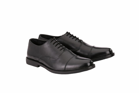 Men's Oxford Cap Toe Black | Jacksin Shoes