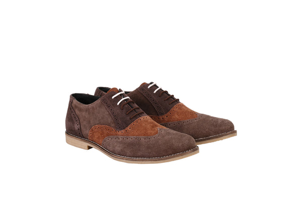 Men's Tri Suede Colour Oxford Brown Brogues | Jacksin Shoes