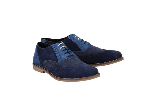 Men's Tri Suede Colour Oxford Blue Brogues | Jacksin Shoes