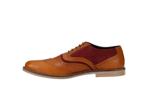 Men's Oxford Wingtip Tan/Burgundy Brogues | Jacksin Shoes