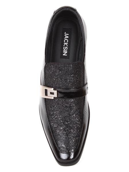 Men's Fine Leather Shiny Patent Black Office Slip On Wedding Shoes | Jacksin Shoes