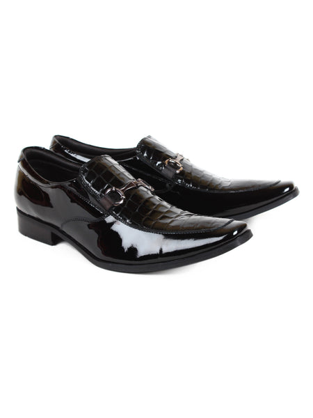 Men's Leather Shiny Patent Black Slip On Pattern Shoes | Jacksin Shoes