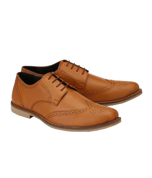Men's Formal Tan Oxford Wingtip Leather Brogues | Jacksin Shoes