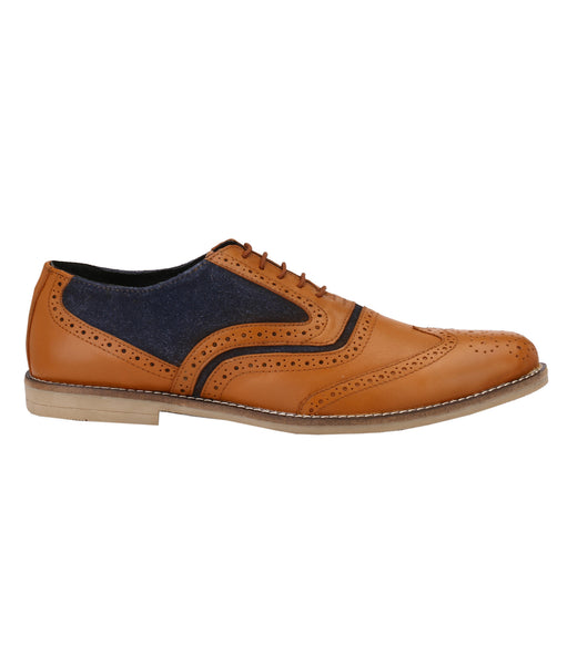 Men's Oxford Wingtip Tan/Blue Brogues | Jacksin Shoes