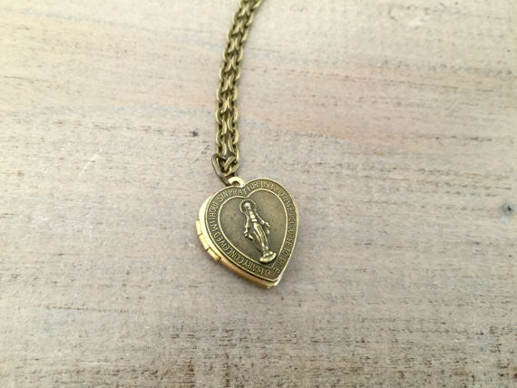 Vintage Heart Locket, Miraculous Medal, Mother Mary Necklace, Faith, religious jewelry