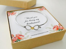 Bridesmaid Bracelet, bridesmaid gift, Infinity bracelet, thank you for being my bridesmaid, wedding jewelry