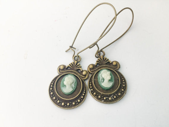 Cameo Earrings, green cameo, goddess, Victorian, brass dangles