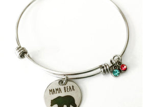Mama Bear Bracelet, Stainless Steel bracelet, Mom jewelry, Gift for Mom