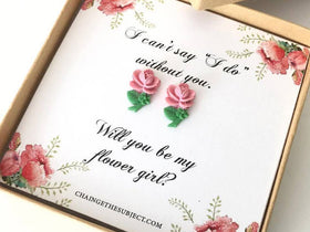 Flower Girl Gift, Thank you for being my flower girl, Flower girl earrings, rosebud earrings, wedding party gift