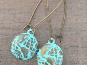 Globe Earrings, world map earrings, travel, adventure