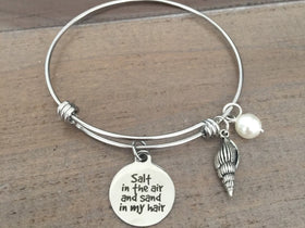 Sand in the air salt in my hair bracelet, beach charm bracelet, bangle, nautical jewelry