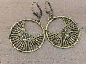 Boho Earrings, Brass hoops, tribal, bohemoan jewelry