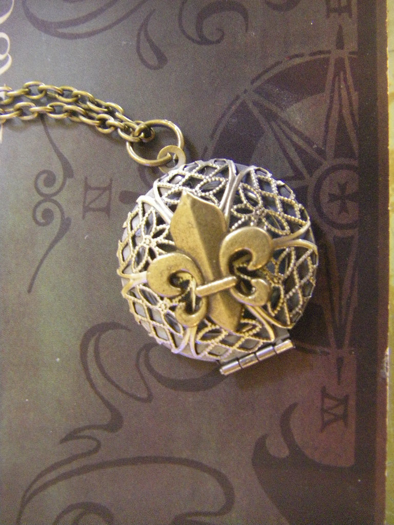 SALE Fleur de Lis Locket Necklace Antique Brass Saints Paris French Under 25 gift for her