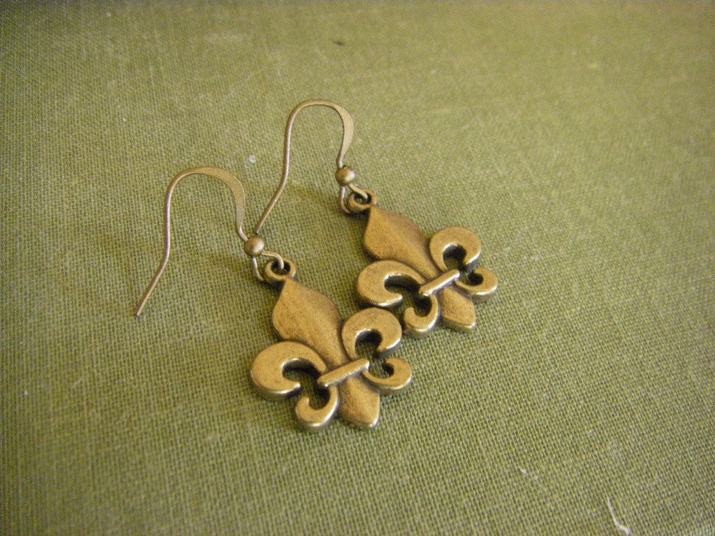 Fleur de Lis Earrings bronze fleur de lis  Saints Paris France gift for her