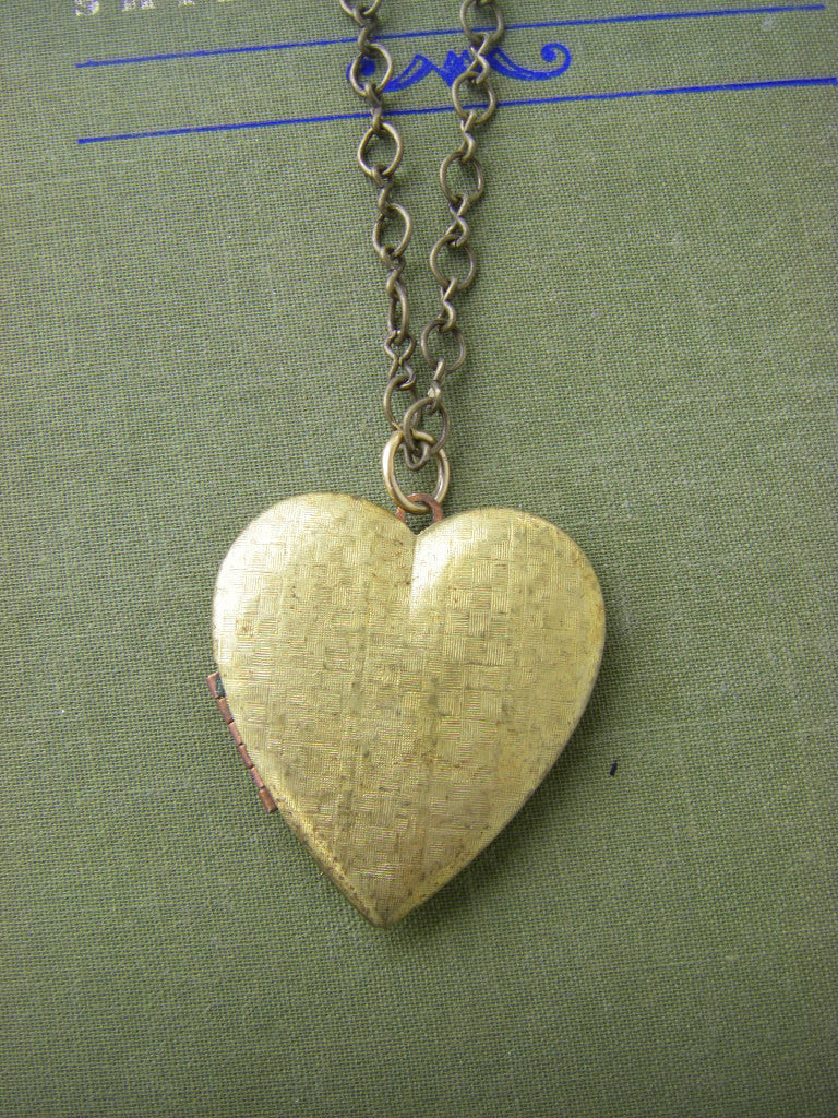 Vintage Heart Locket Necklace  classic heart large locket Bride gift for her bride bridesmaids