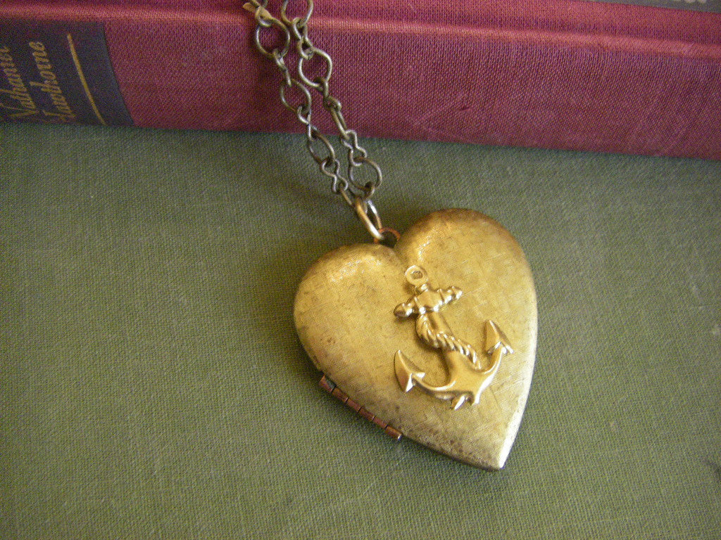Vintage Anchor heart locket sailor girlfriend navy anchor jewelry nautical gift for her