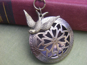 Antique Brass Sparrow Locket  Sale Today Only