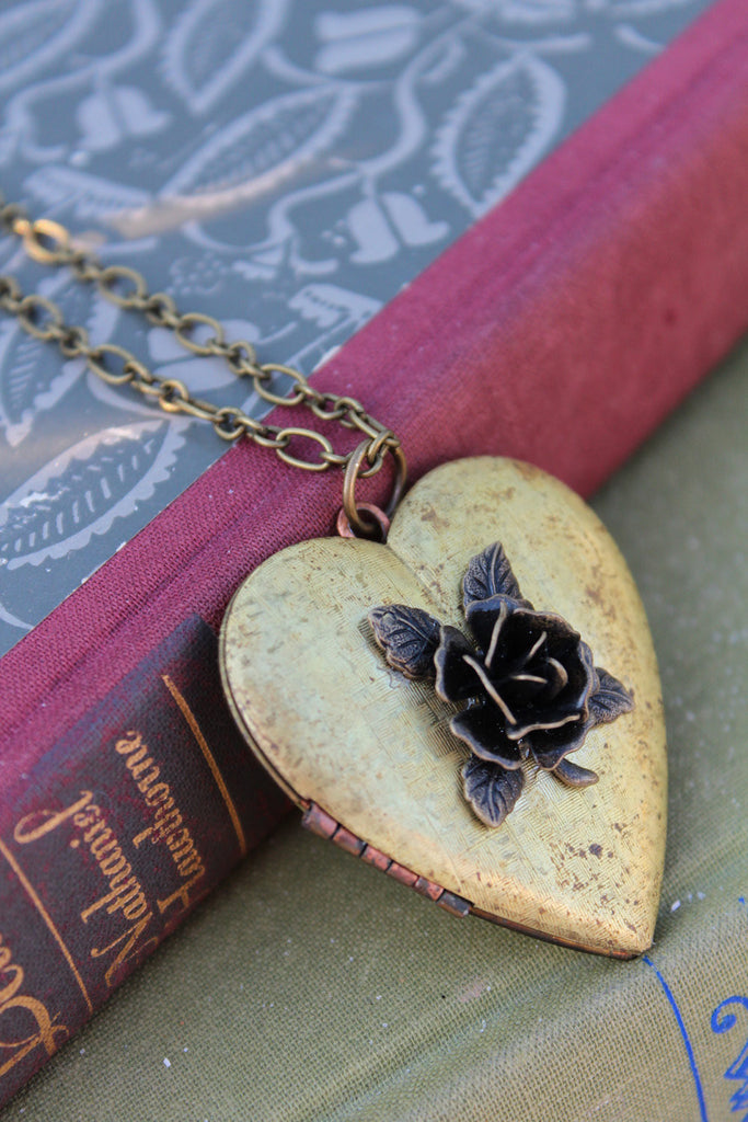 Vintage Heart Rose Locket rustic vintage locket bronze rose