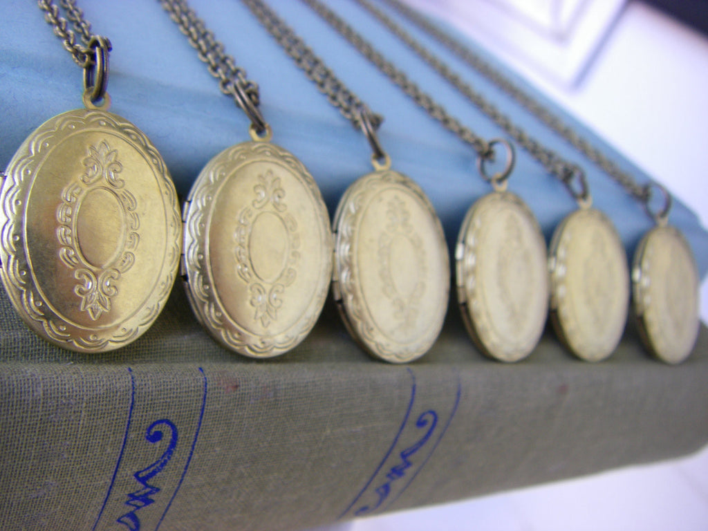 SALE Bridesmaids Locket Necklaces Set of Seven vintage oval with engraved scroll gift  Almost Gone